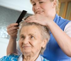 combing elder female